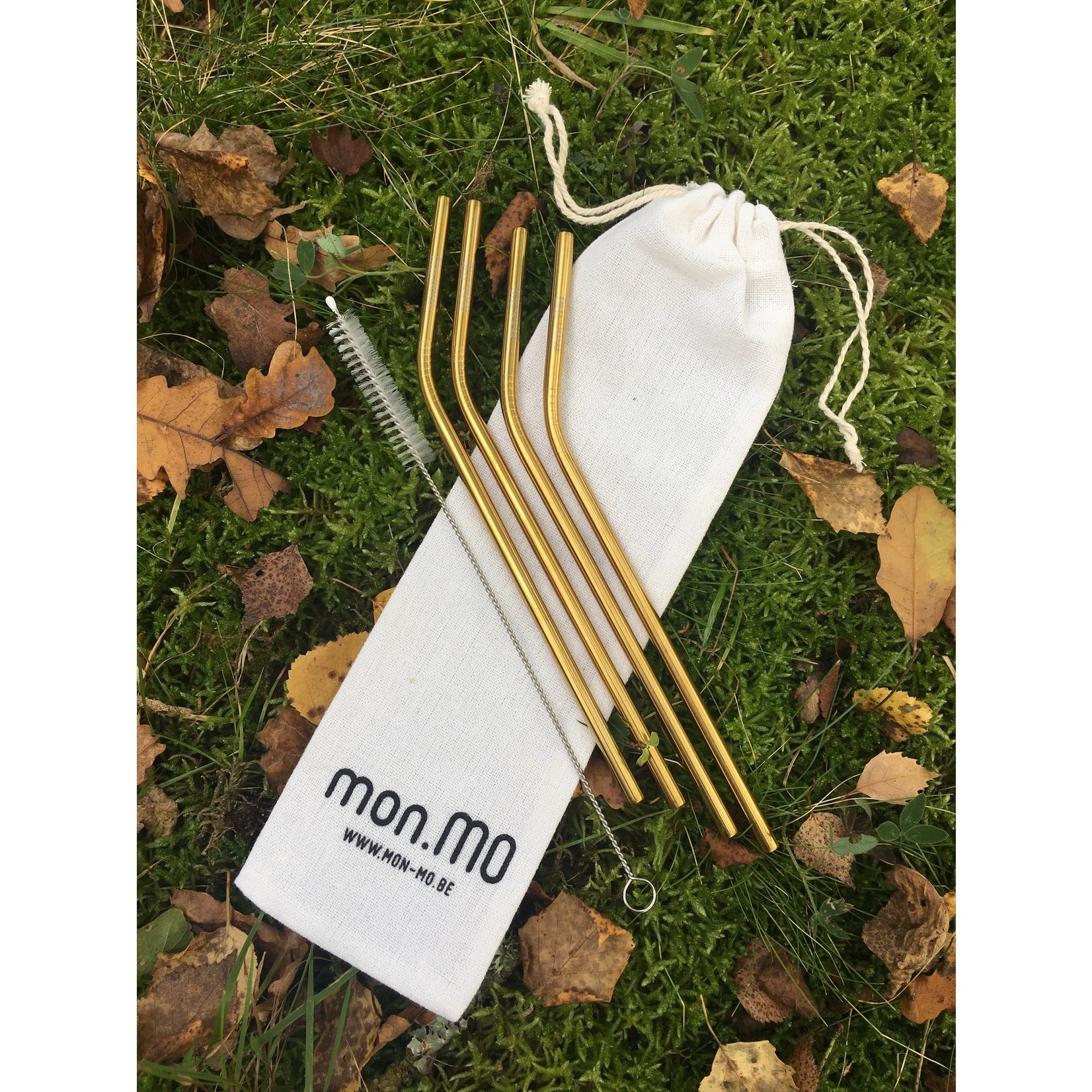 mon.MO mon.MO Reusable Bent Straws - GOLD - 4 pack with brush & pouch