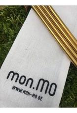 mon.MO mon.MO Herbruikbare Gebogen Rietjes - GOLD - 4 pack met borstel en zakje