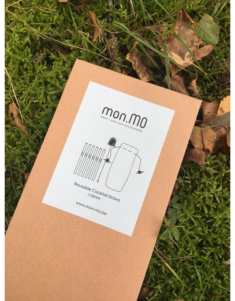 mon.MO mon.MO Reusable Cocktail Straws - 6 pack with brush & pouch