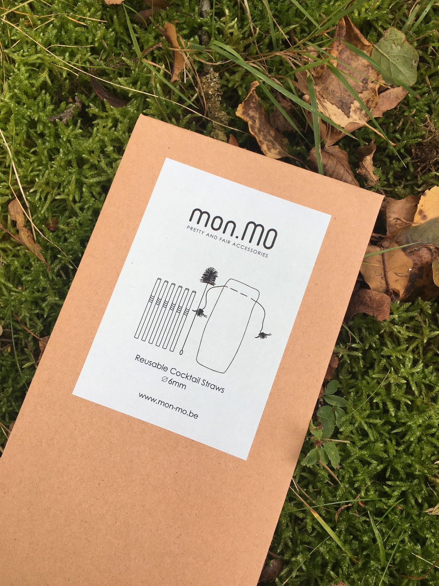 mon.MO Reusable Cocktail Straws - 6 pack with brush & pouch
