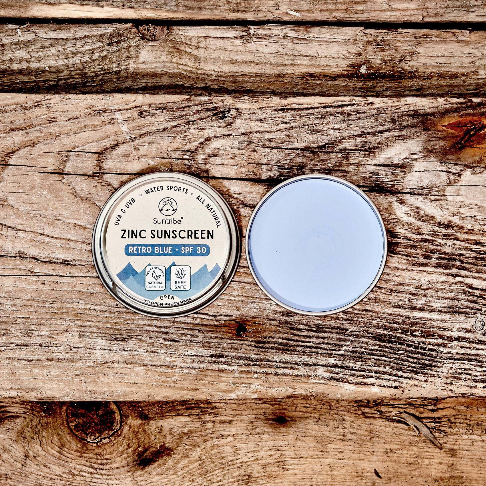 Suntribe Zink Zonnecrème Getint - Retro Blauw - 30SPF