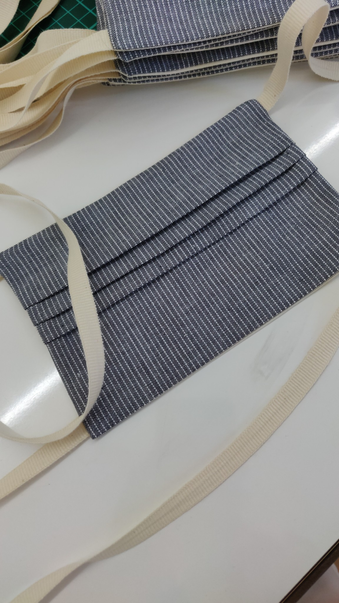 Mondmasker - Blue Stripes - biokatoen