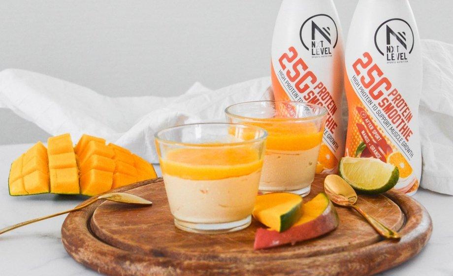 Crema de proteína con mango y naranja