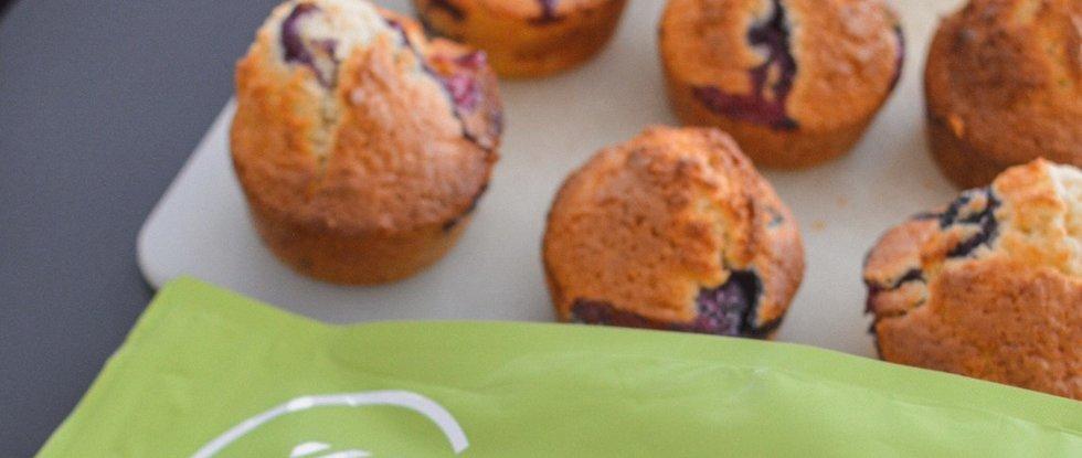 Eiwitrijke Muffins met Banaan & Blauwe Bessen (Vegan)