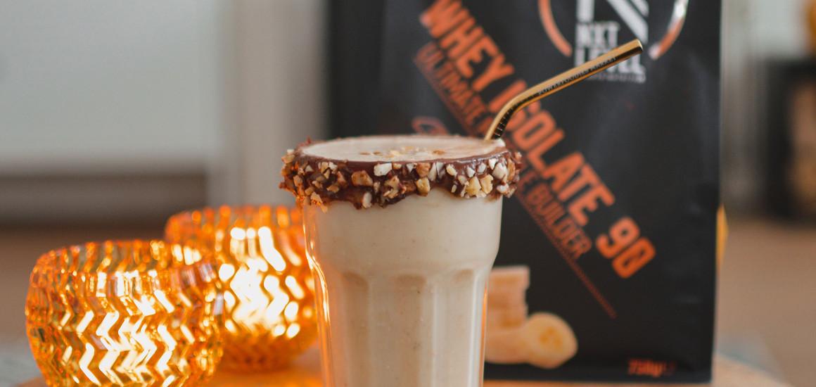 Warm banana peanut butter protein shake
