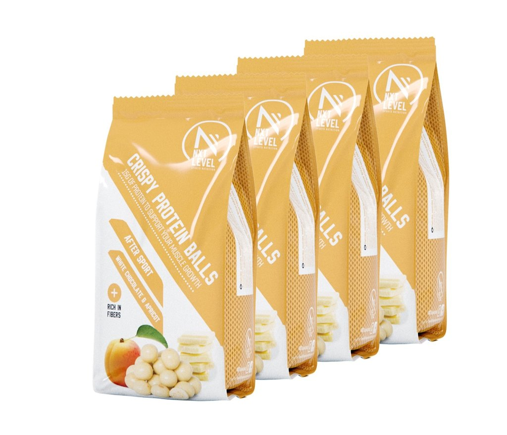 Billes Croustillantes Protéinées  -  Chocolat blanc pépites d'abricot (4 pcs)