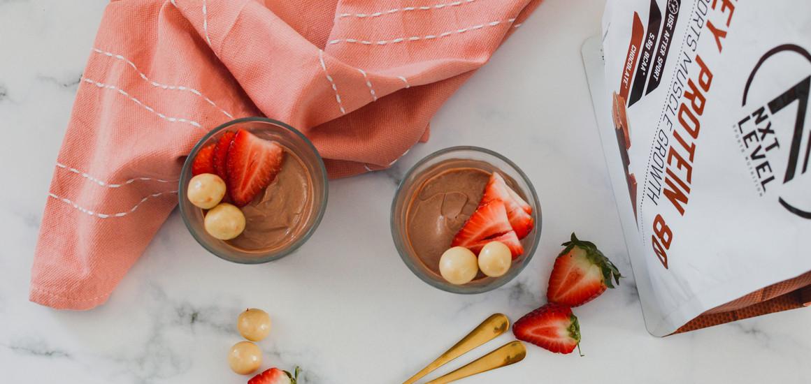 Eiwitrijke chocolade mousse
