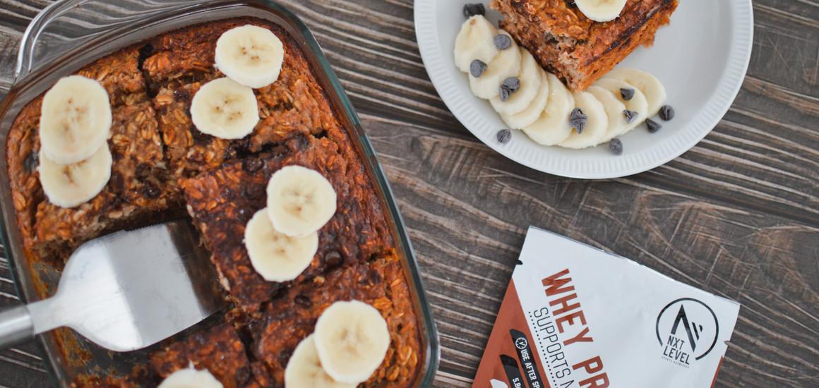 High Protein Banana Choco Baked Oatmeal