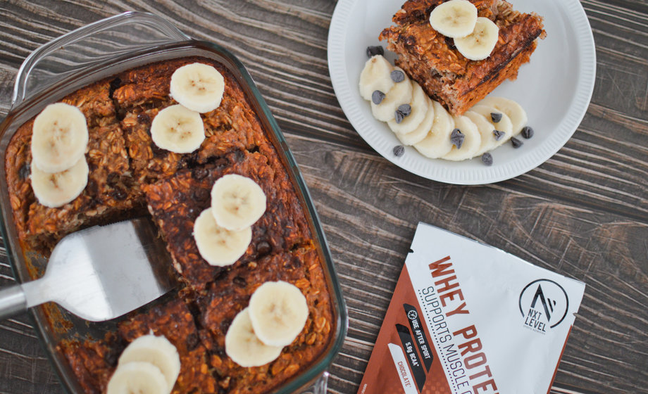 High Protein Banana Choco Baked Oatmeal