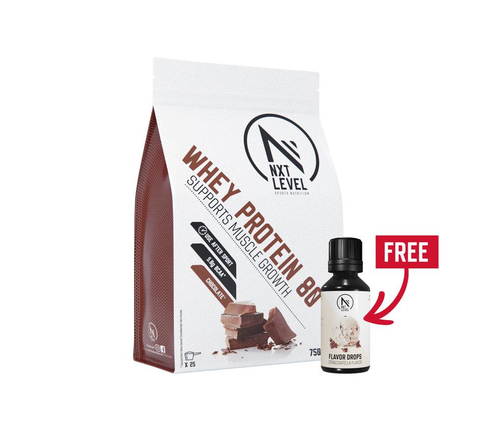 Pack Whey 80 750g + 1 flavor drops offert