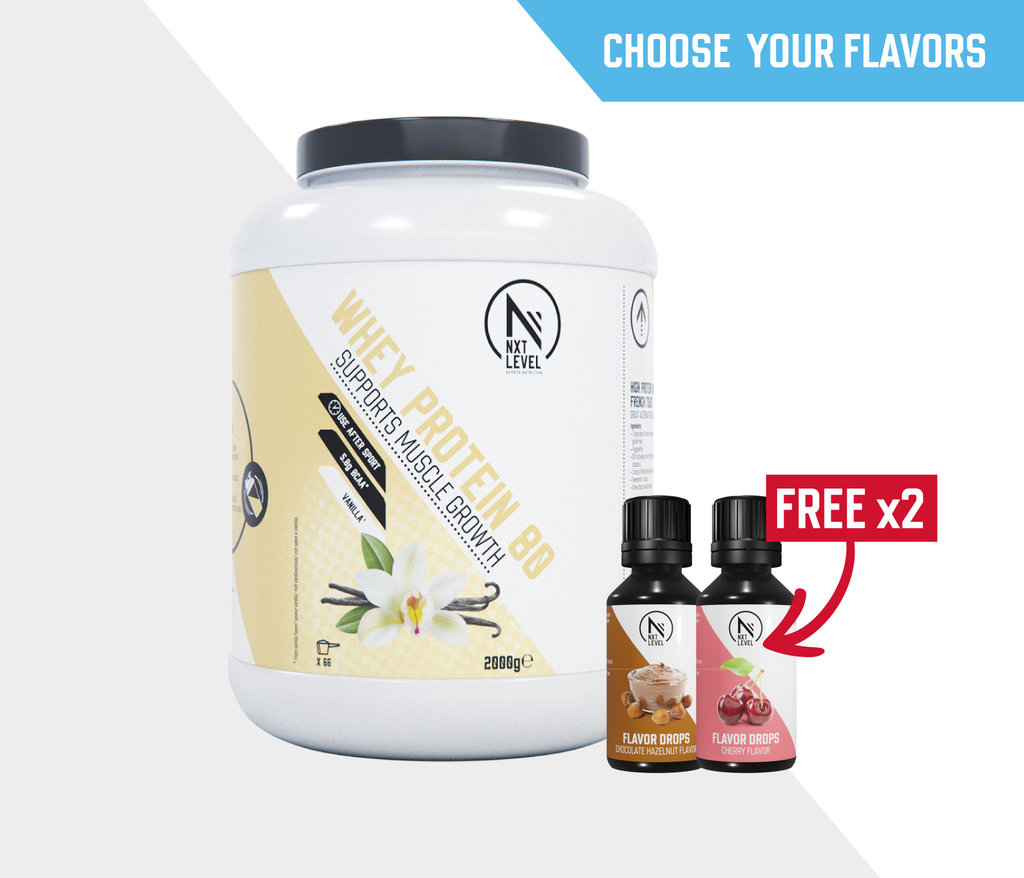 Pack Whey80 2KG+2 flavor drops offerts