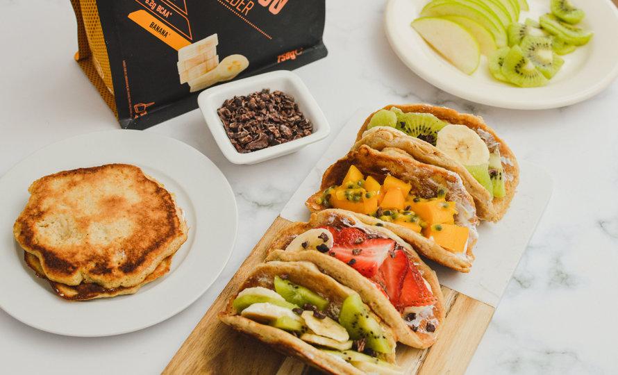 Tacos de panqueques ricos en proteínas