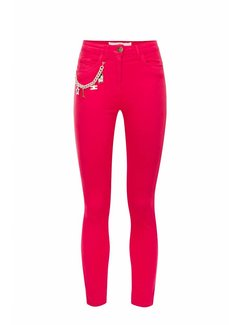 Elisabetta Franchi Elisabetta Franchi skinny jeans met ketting Roze