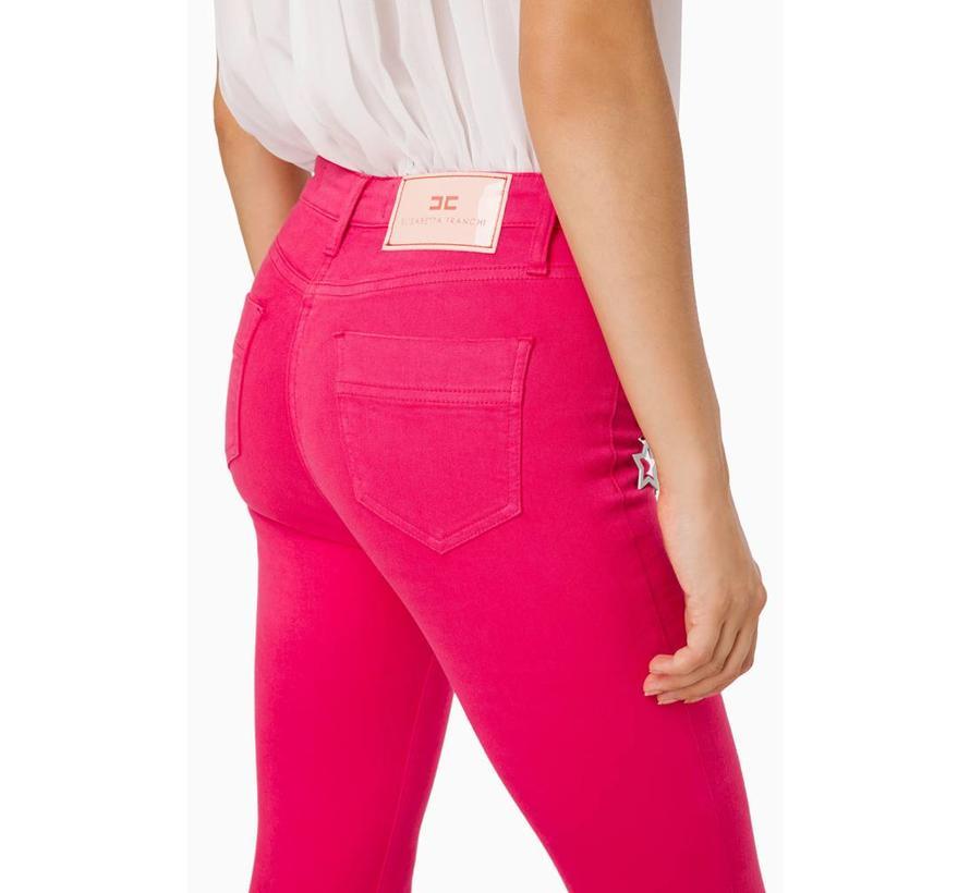 Elisabetta Franchi skinny jeans met ketting Roze