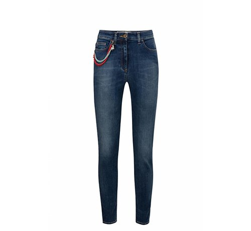 Elisabetta Franchi Elisabetta Franchi blauwe skinny jeans met ketting