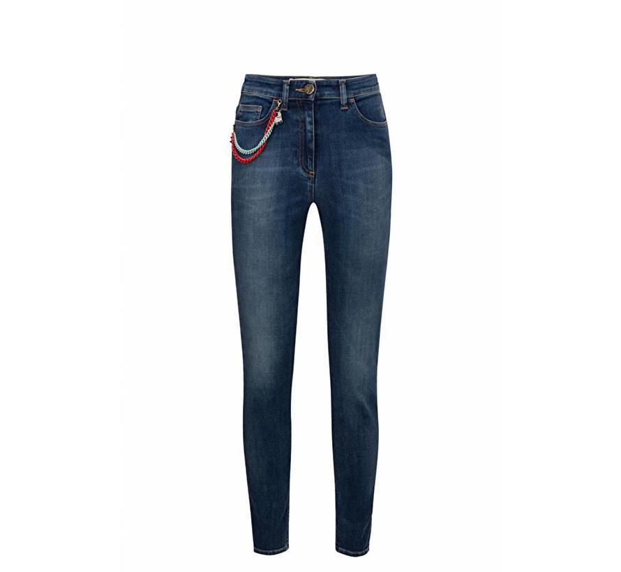Elisabetta Franchi blauwe skinny jeans met ketting