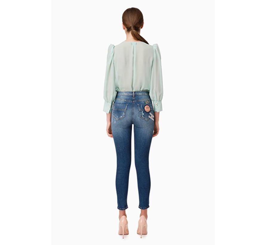 Elisabetta Franchi skinny jeans met patches Blauw
