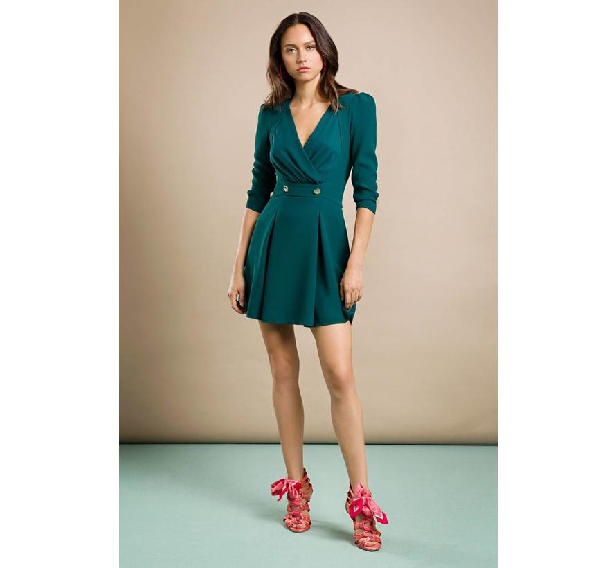 Elisabetta Franchi overslag jurk met gouden knopen petrol