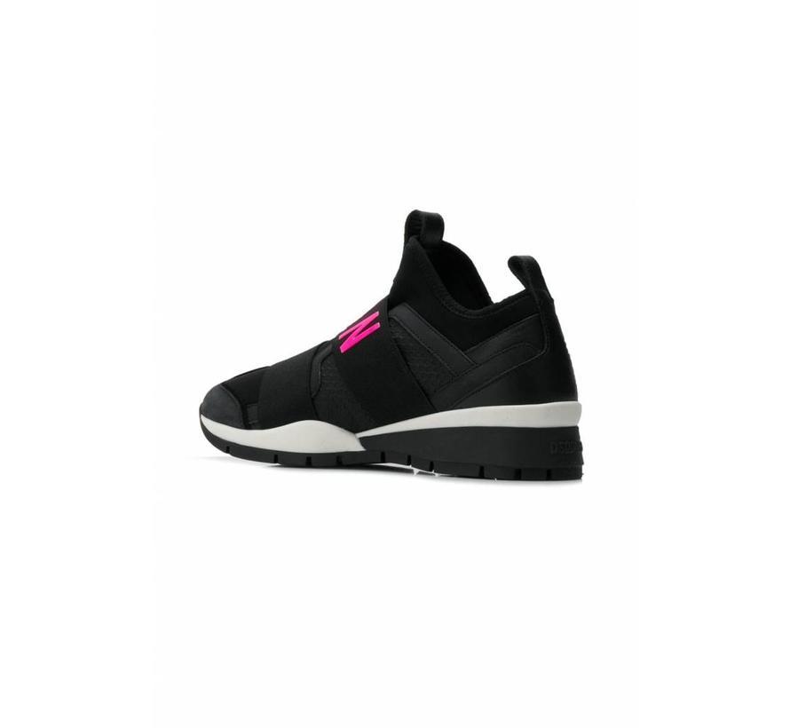 Dsquared2 sneaker met icon zwart neon roze