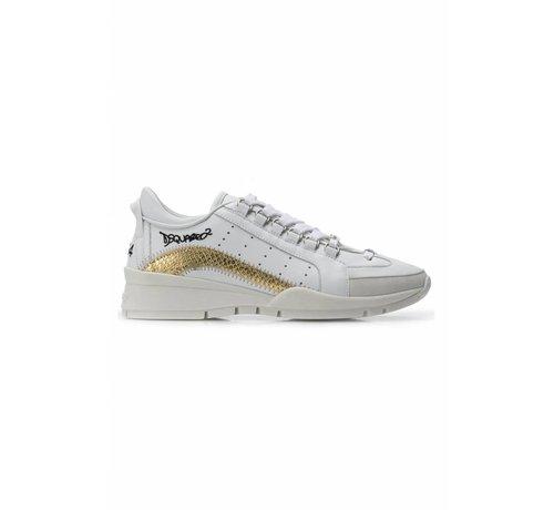 1. DSQUARED2 Dsquared2 551 sneaker met gouden boog in croco wit