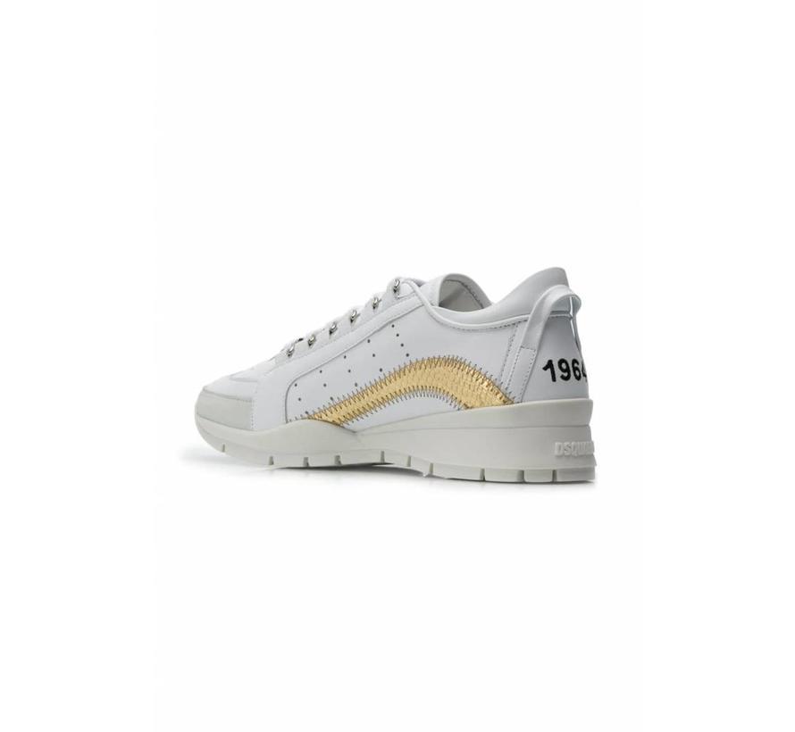 Dsquared2 551 sneaker met gouden boog in croco wit