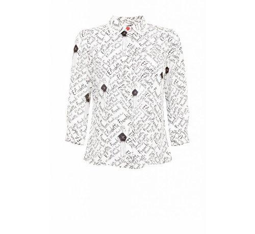 2. ELISABETTA FRANCHI Elisabetta Franchi blouse met Elisabetta Franchi text wit
