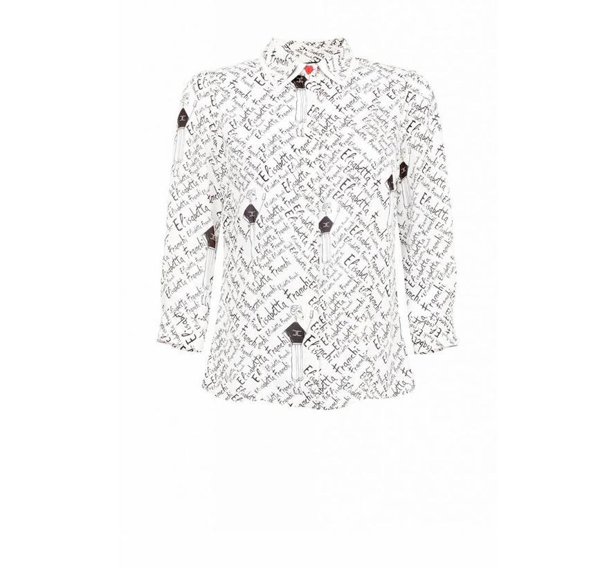 Elisabetta Franchi blouse met Elisabetta Franchi text wit