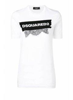 1. DSQUARED2 Dsquared2 shirt met tape met merknaam en kant wit