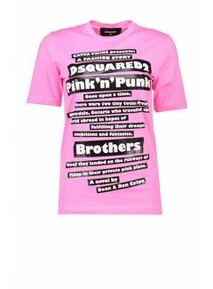1. DSQUARED2 Dsquared2 t-shirt met texten Roze