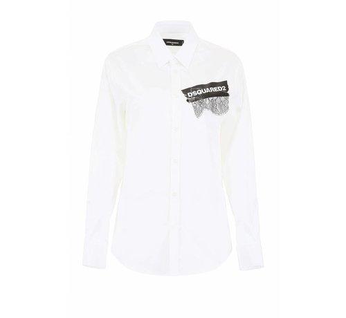 1. DSQUARED2 Dsquared2 wit overhemd met merknaam op tape en stukje kant