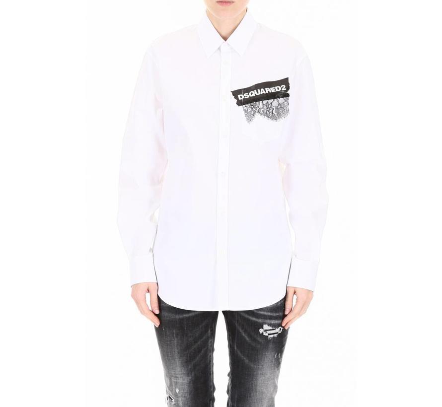 Dsquared2 wit overhemd met merknaam op tape en stukje kant