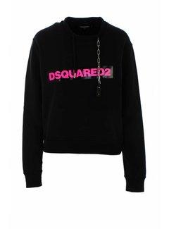 Dsquared2 Dsquared sweaters met ketting in kraag zwart