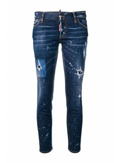 1. DSQUARED2 Dsquared2 jennifer cropped destroyed jeans met bleek spetters blauw