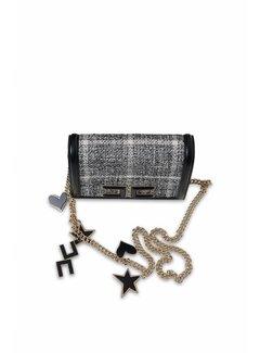 Elisabetta Franchi Elisabetta Franchi crossbody tas met tweed stofje zwart