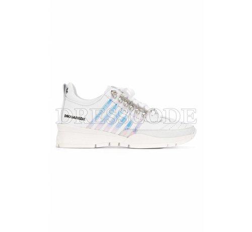 1. DSQUARED2 Dsquared2 witte sneaker met parelmoer strepen