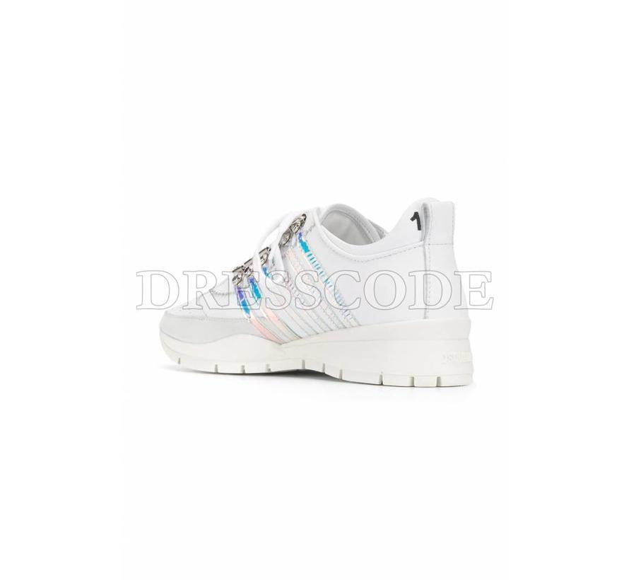 Dsquared2 witte sneaker met parelmoer strepen