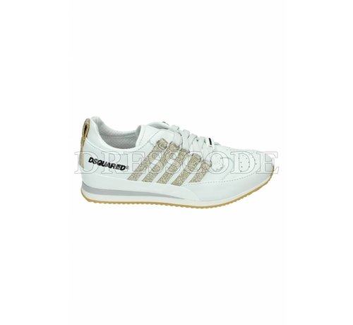 1. DSQUARED2 Dsquared2 witte sneaker met gouden strepen