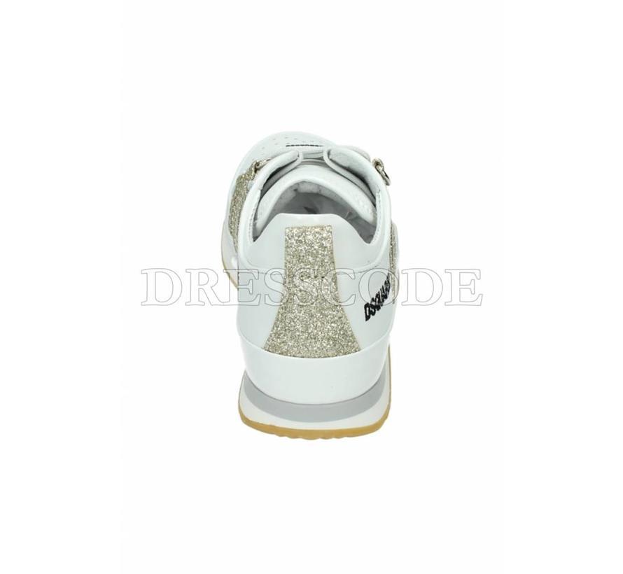 Dsquared2 witte sneaker met gouden strepen