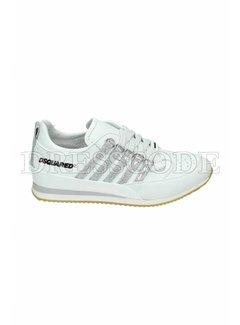 1. DSQUARED2 Dsquared2 sneaker met zilveren strepen Wit