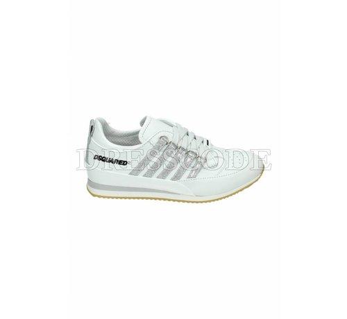 1. DSQUARED2 Dsquared2 witte sneaker met zilveren strepen