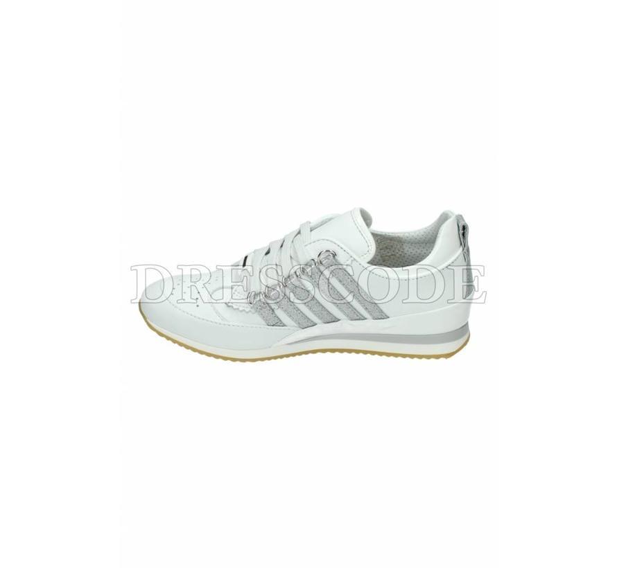 Dsquared2 witte sneaker met zilveren strepen