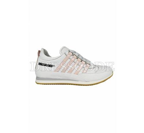 1. DSQUARED2 Dsquared2 witte sneaker met roze strepen