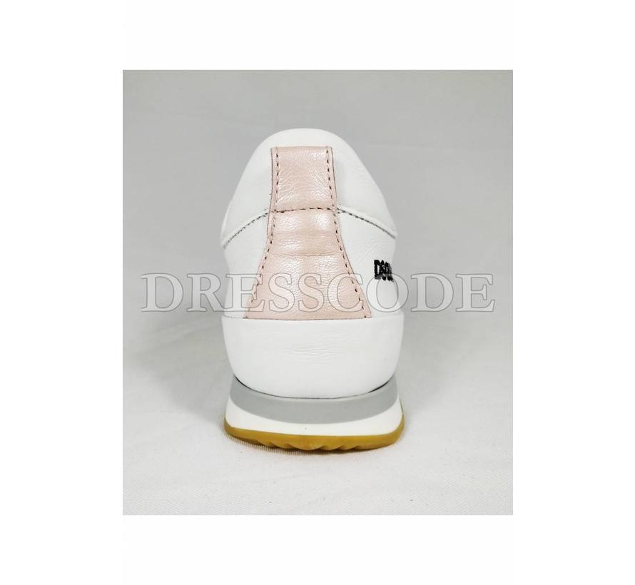 Dsquared2 witte sneaker met roze strepen