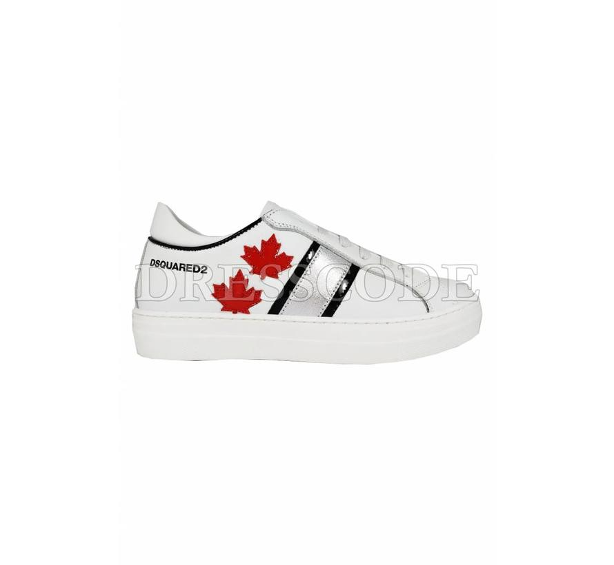 Dsquared2 witte sneaker met zilver en rode blad