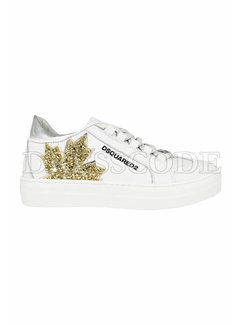 1. DSQUARED2 Dsquared2 sneaker met blad in glitter blad Wit