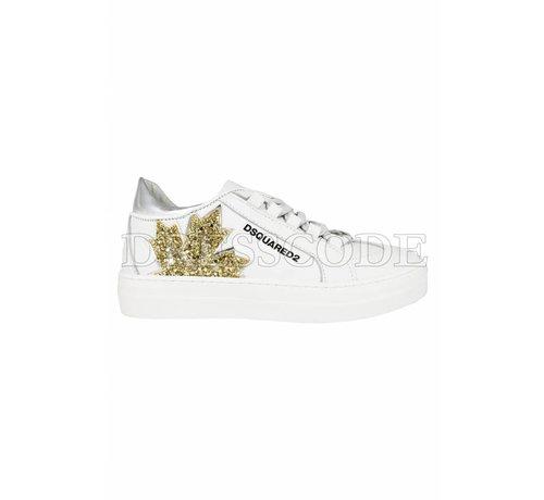1. DSQUARED2 Dsquared2 witte sneaker met blad in glitter blad