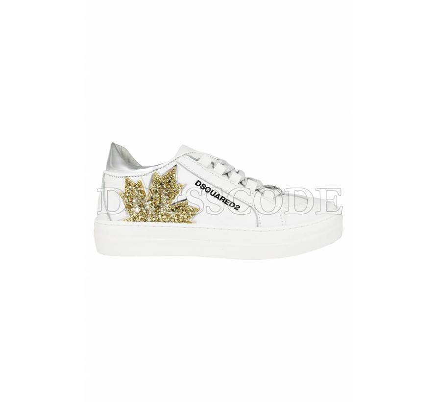 Dsquared2 witte sneaker met blad in glitter blad