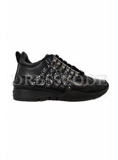 1. DSQUARED2 Dsquared2 sneaker met glitter strepen zwart
