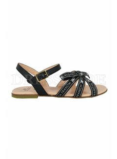 2. ELISABETTA FRANCHI Elisabetta Franchi sandaal laag met logo en merknaam zwart