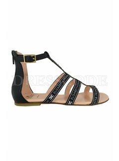 2. ELISABETTA FRANCHI Elisabetta Franchi sandaal hoog met merknaam zwart